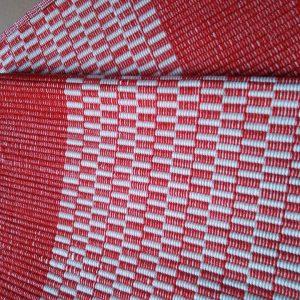 vzor nite červené, biele kocky obšité – šírka 60cm