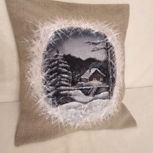 ozdobný vankúš  zima, 45 X 45 cm