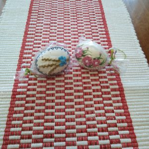 bielo-červená štóla, vzor nite š. 40 cm